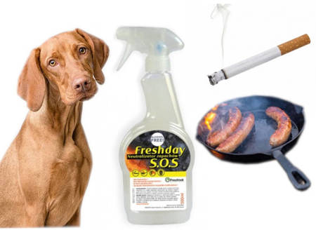 FRESHDAY NEUTRALIZATOR zapachów papierosów smażenia zwierząt  S.O.S. 500 ml